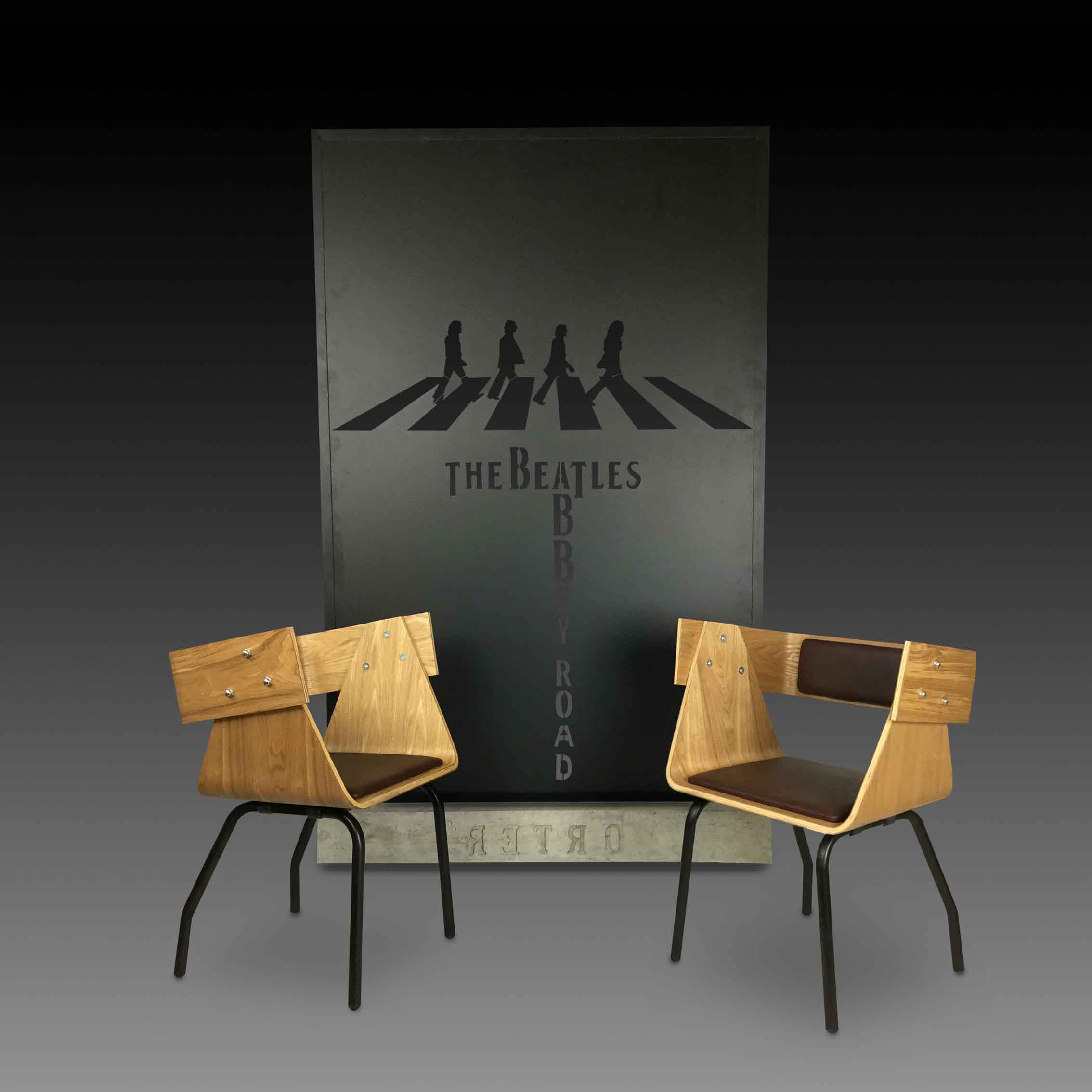 Beatles room divider with concrete base and 2 wooden chairs by Smoke