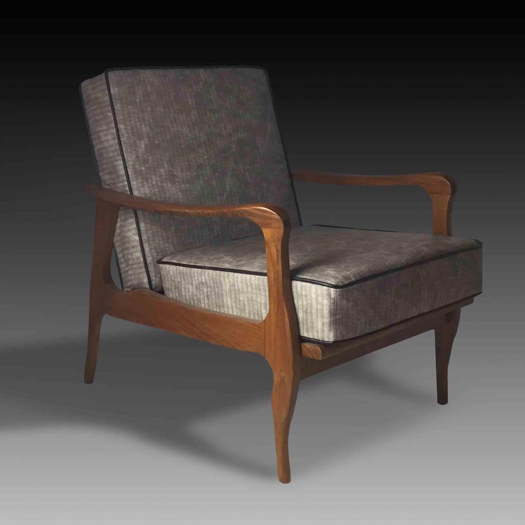 Emilio grey wooden armchair square