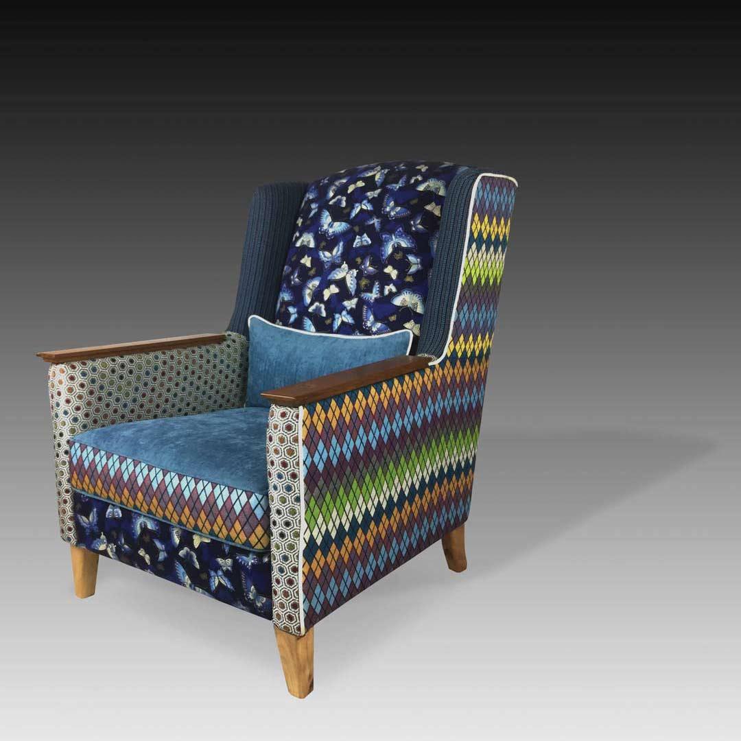 Karin blue armchair square
