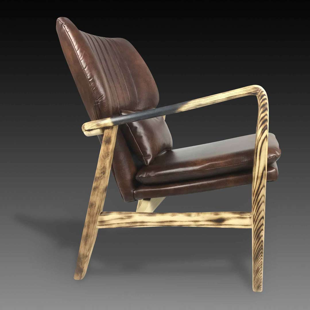 Oberon charred armchair side view
