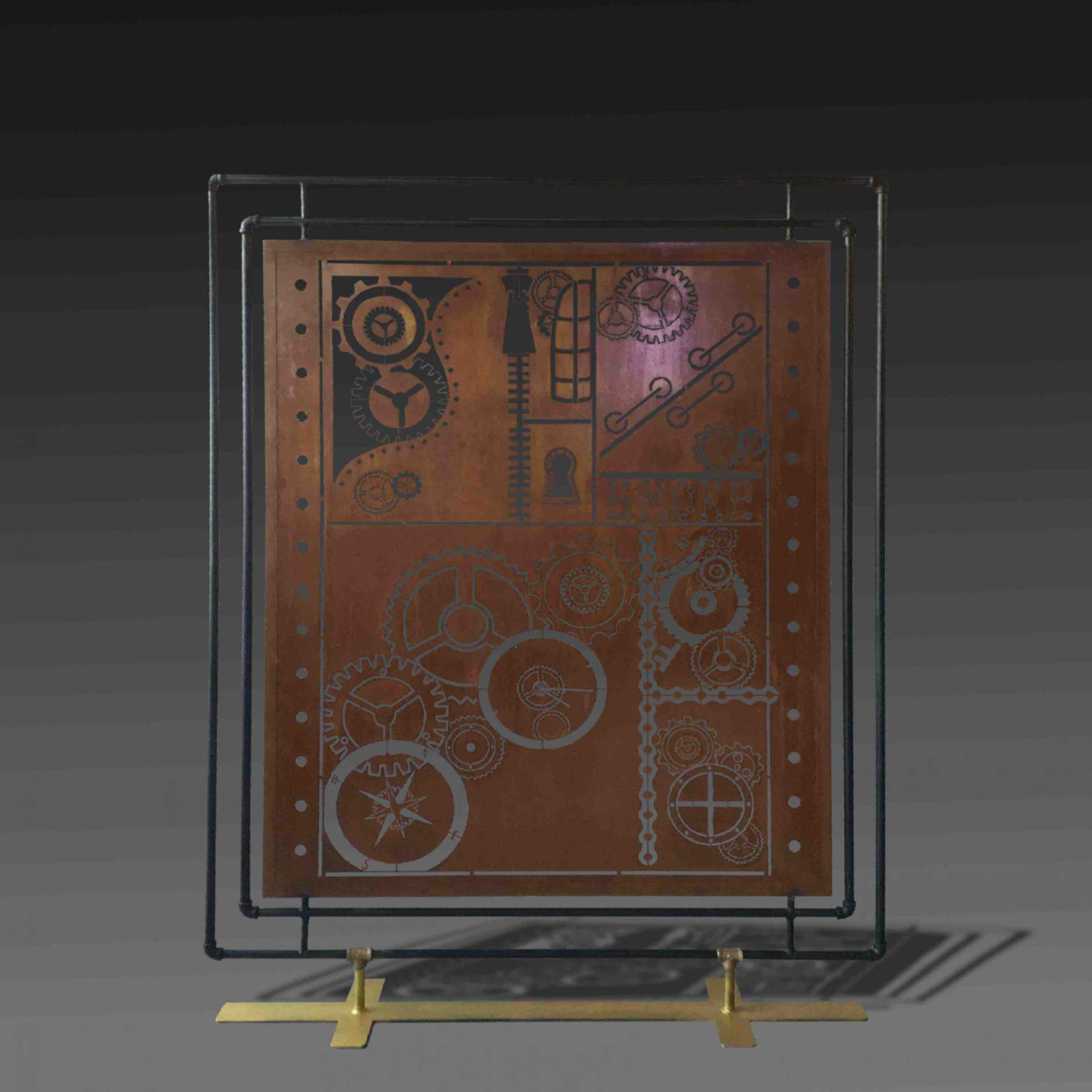 Smoke steampunk metal divider with metal base