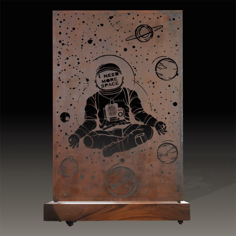 Astronaut metal room divider with wooden base