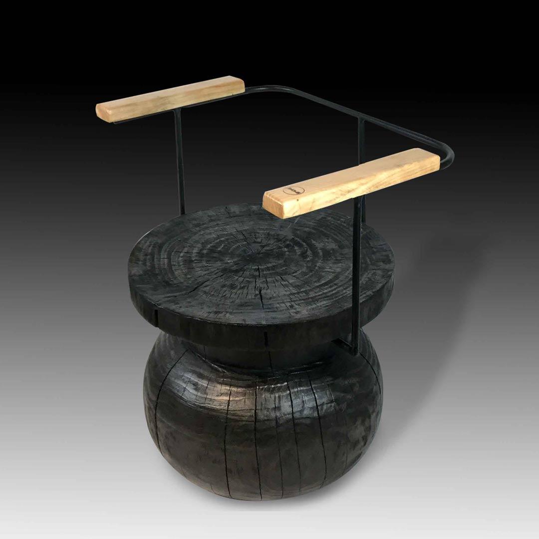 Zen furniture hydnum organic charred stool