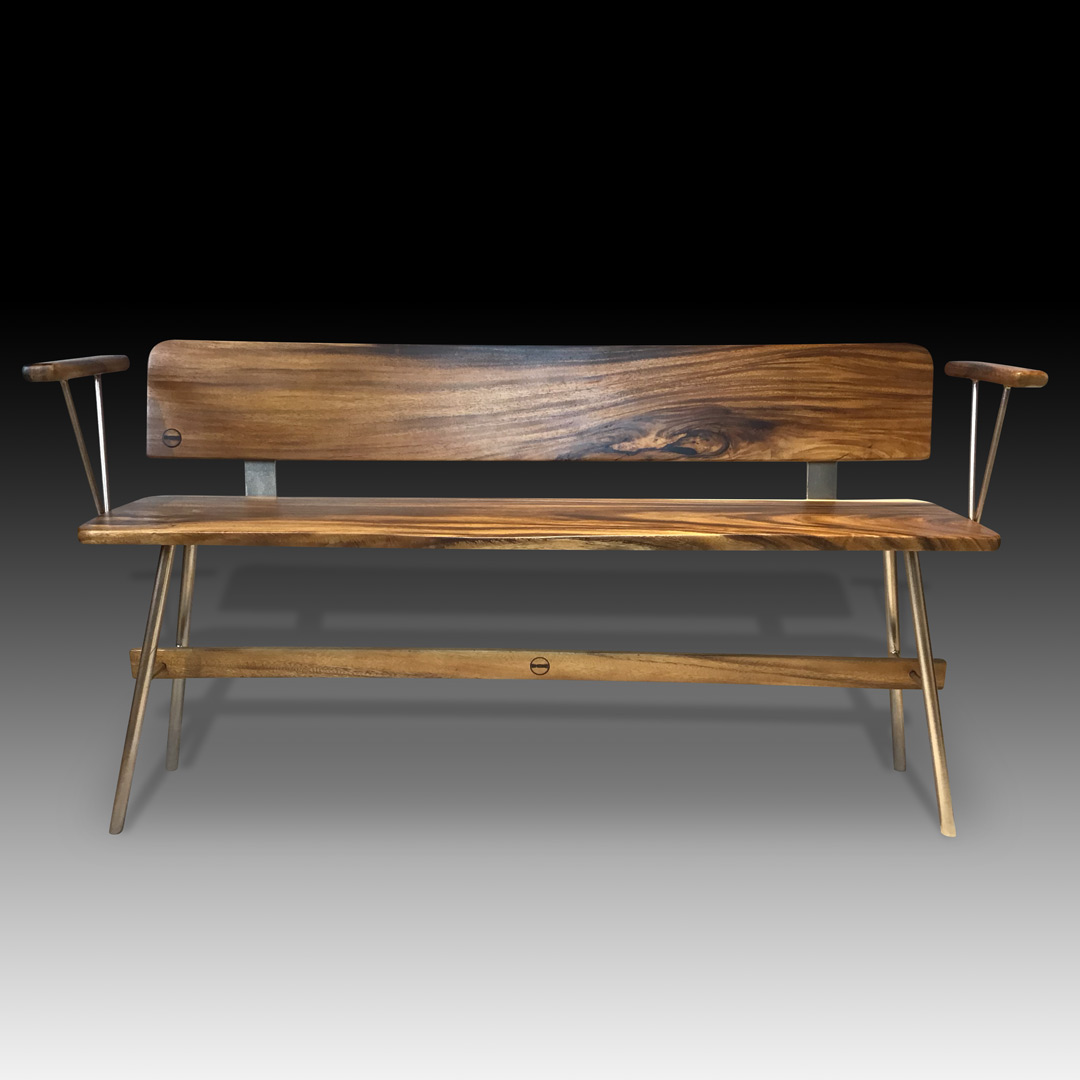 Vernon rose gold live edge wooden bench