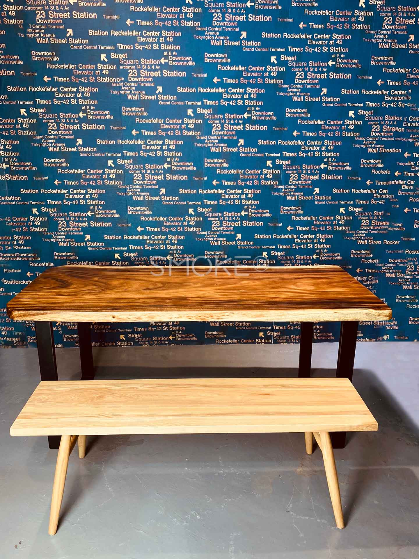 Colbie solid wood bench with dining table